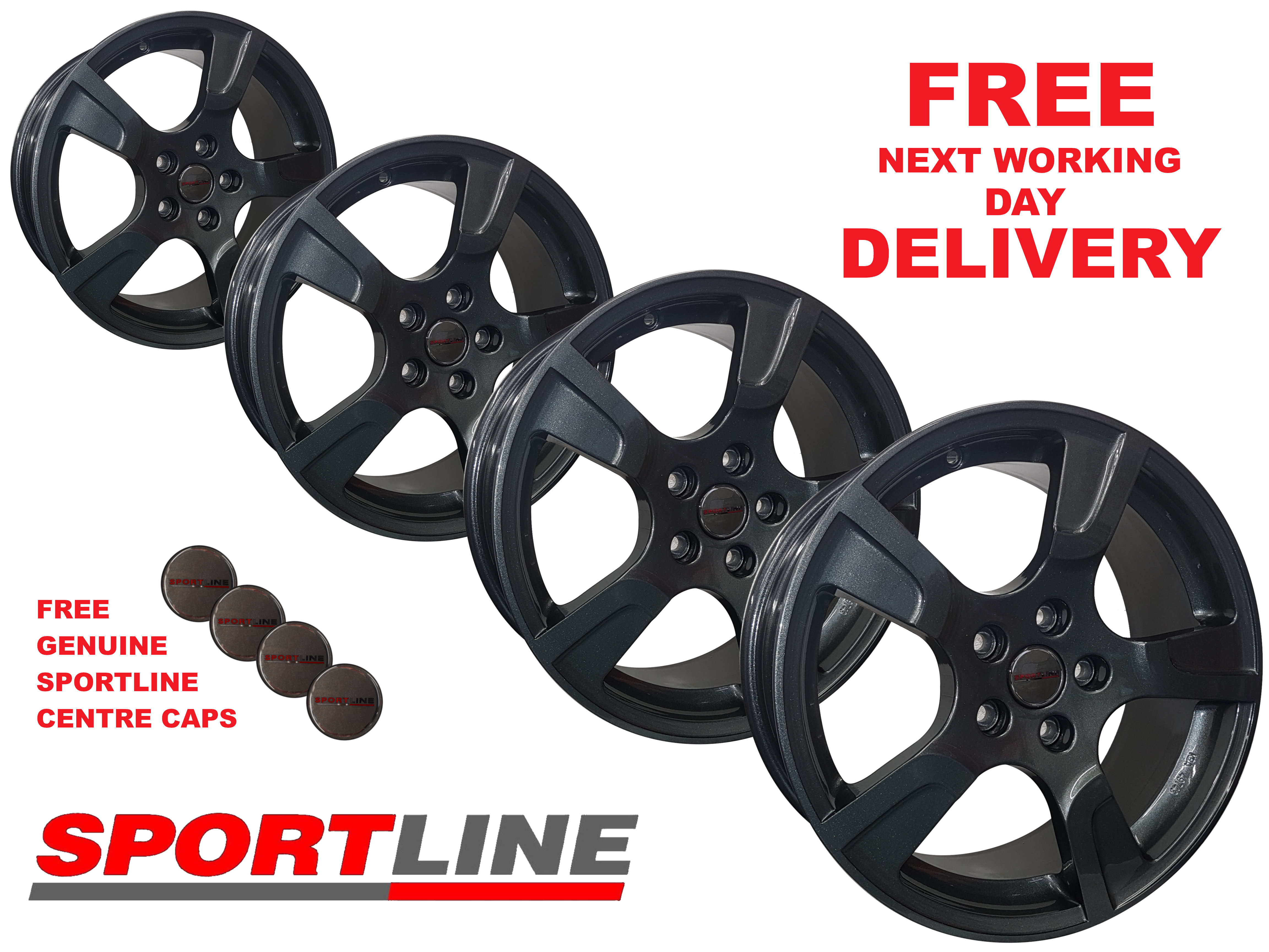 "18"" Genuine Sportline Anthracite Alloy Wheels 5X120 T6/T5"