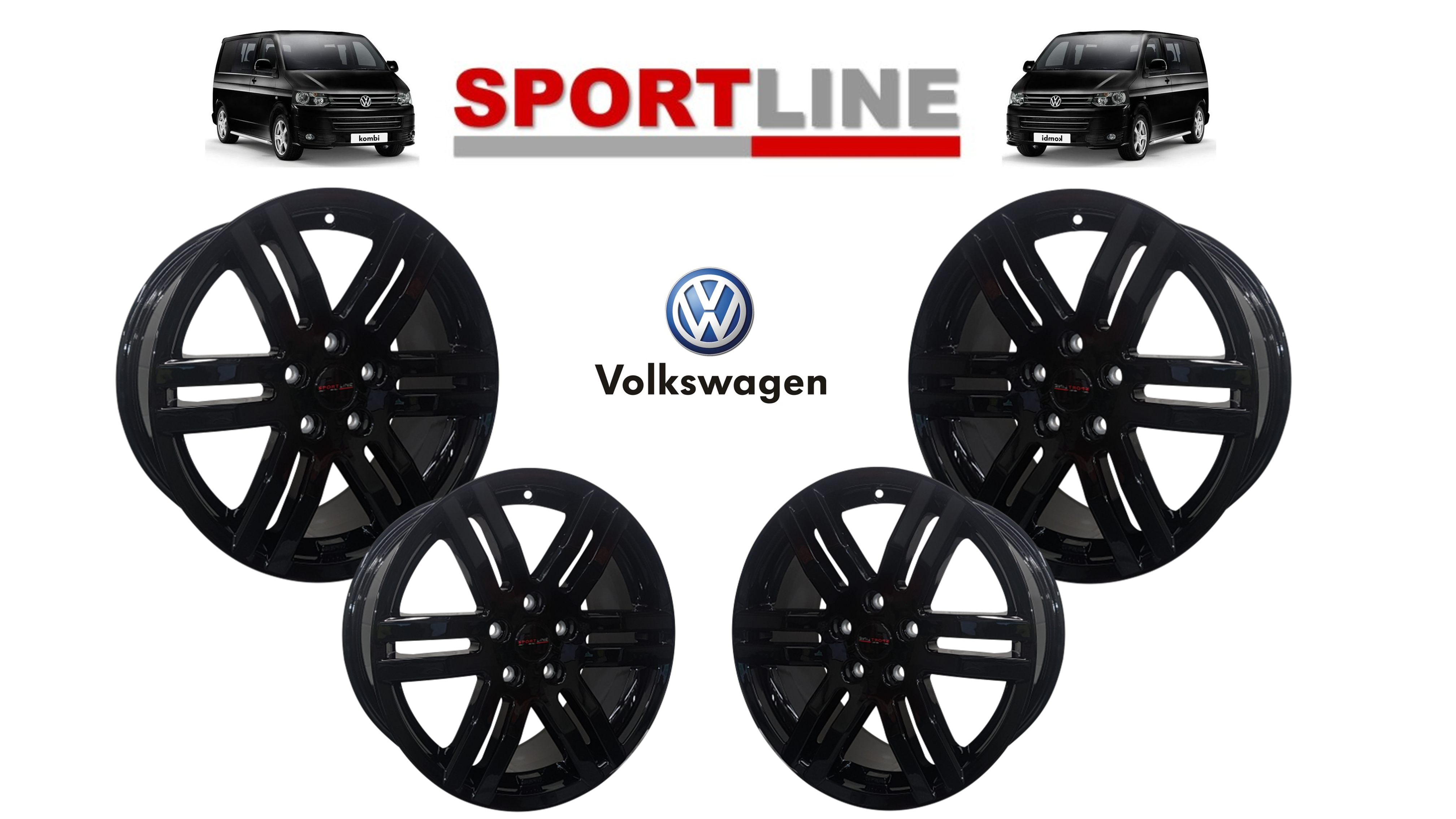 "18"" Genuine Sportline GLOSS Black Alloy Wheels 5X120 T5"