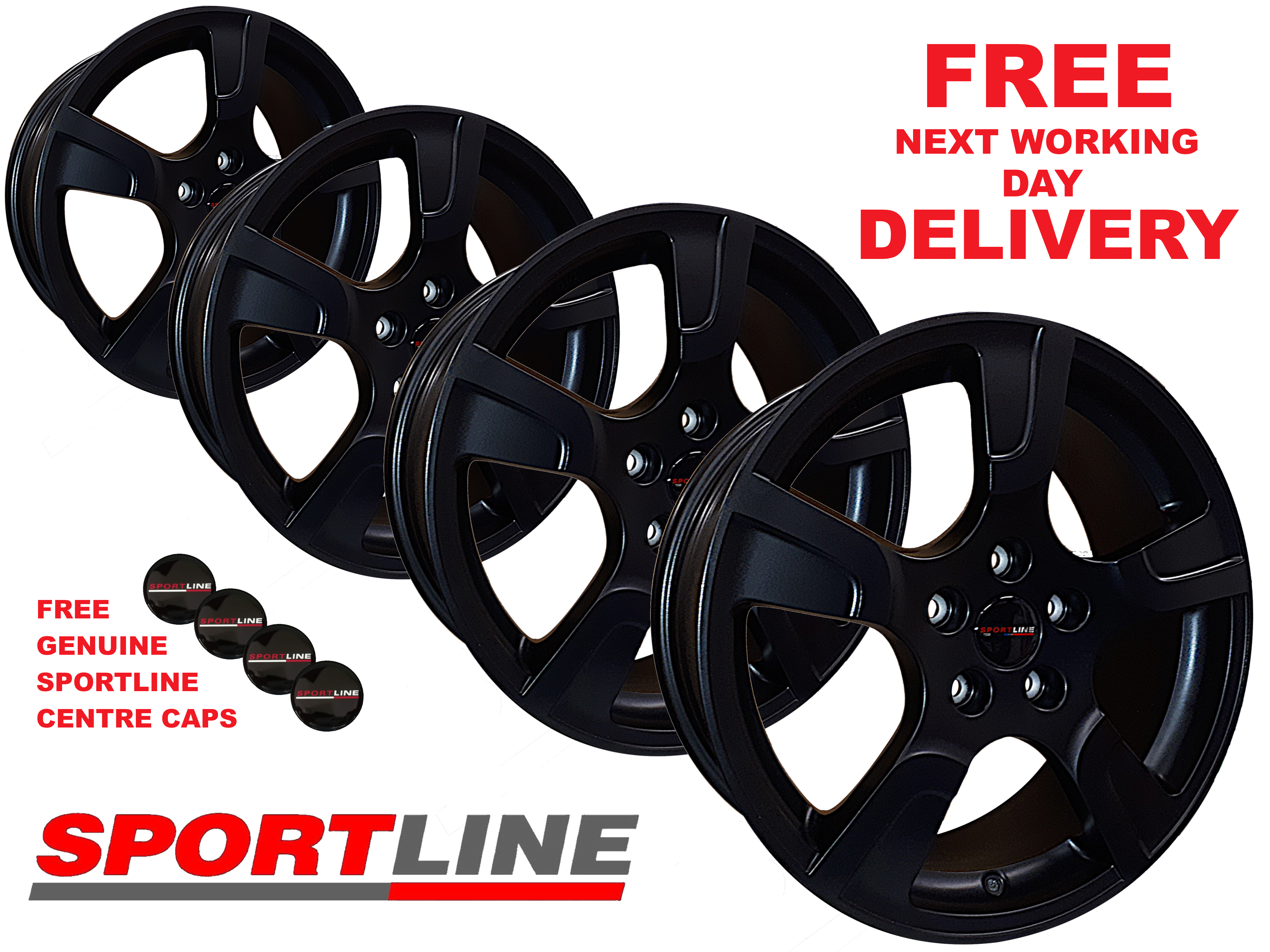 "18"" Genuine Sportline MATT Black Alloy Wheels 5X120 T5/T6"