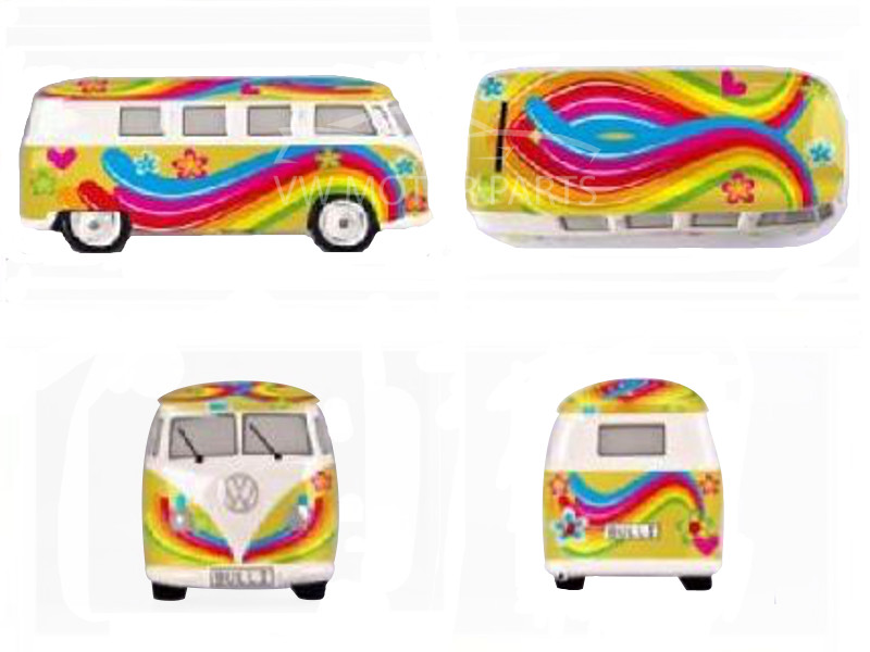 Genuine VW Camper Money Box - Flower Power - Yellow